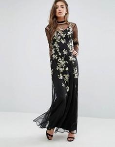 Платье макси с цветочной вышивкой Miss Selfridge - Черный