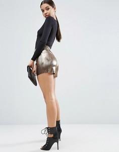 Плиссированная юбка-шорты металлик ASOS - Золотой