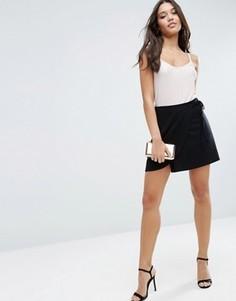 Короткая расклешенная юбка с запахом ASOS - Черный