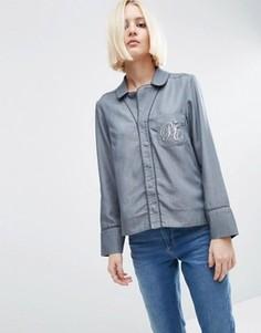 Джинсовая блузка в пижамном стиле с вышивкой на кармане ASOS - Серый