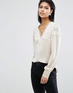 Атласная блузка с кружевными вставками ASOS - Серый