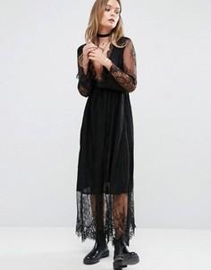 Кружевное платье миди Glamorous - Черный