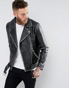 Черная кожаная байкерская куртка в винтажном стиле с поясом ASOS - Черный