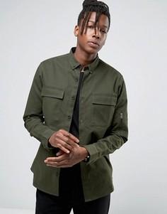 Рубашка навыпуск с отделкой на карманах Only & Sons - Зеленый