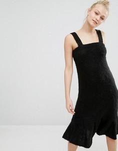 Пушистое мягкое платье-джемпер Monki - Черный