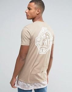 Длинная футболка с камуфляжной вставкой на кромке ASOS Star Wars - Бежевый