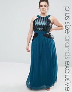 Платье макси с пайетками и лямкой через шею Little Mistress Plus - Зеленый