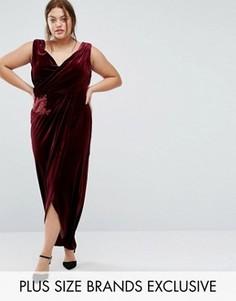 Бархатное платье макси с запахом спереди Little Mistress Plus - Красный