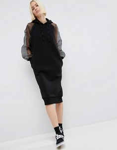 Платье-футболка с капюшоном и рукавами из органзы ASOS WHITE - Черный