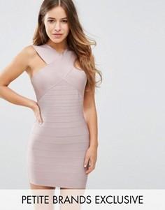 Бандажное платье с перекрестным дизайном Missguided Petite - Розовый