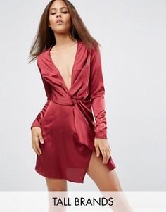 Цельнокройное платье с запахом и глубоким декольте Missguided Tall - Красный