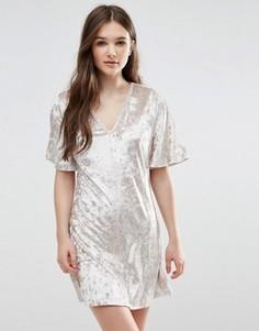 Бархатное платье-футболка Madam Rage - Бежевый