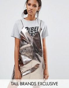 Полиуретановое платье-комбинация мини Daisy Street Tall - Серебряный