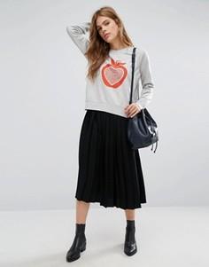 Плиссированная юбка миди YMC - Черный