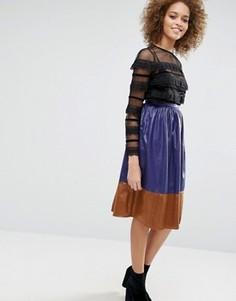 Юбка миди в стиле колор блок Sister Jane - Фиолетовый