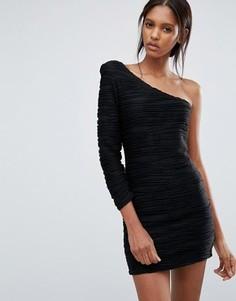 Платье на одно плечо со сборками Jasmine - Черный