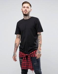 Удлиненная футболка с кромкой в клетку и завязкой-обманкой на талии ASOS - Черный
