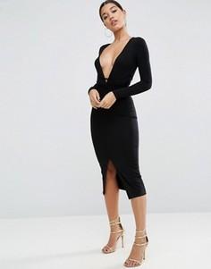 Платье миди с запахом и глубоким вырезом ASOS - Черный