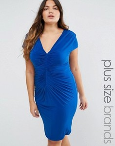 Платье с драпировкой Goddiva Plus - Синий