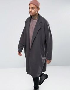 Длинное oversize-пальто черного выбеленного цвета ASOS - Черный