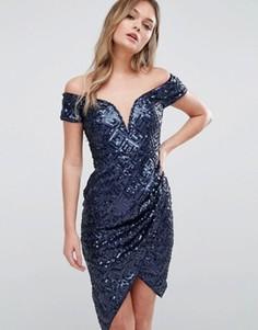 Платье с пайетками и запахом TFNC - Темно-синий