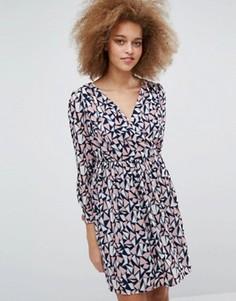 Платье с присборенной юбкой и принтом Pussycat London - Мульти