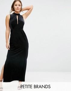 Бархатное платье макси с кружевной вставкой сзади Vero Moda Petite - Черный