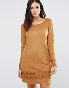 Платье-джемпер с оборками Vila - Коричневый