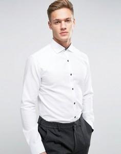 Зауженная фактурная рубашка с длинными рукавами Selected Homme - Белый