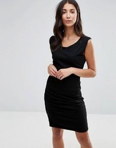 Облегающее платье с асимметричным дизайном и разрезом Pam & Gela - Черный