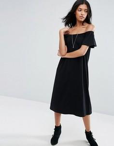 Платье миди на одно плечо ASOS - Черный