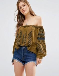 Блузка с открытыми плечами Free People All I Need - Золотой
