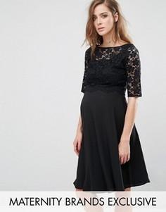 Свободное платье миди с кружевной отделкой Queen Bee - Черный