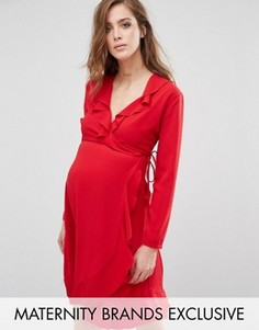 Платье с запахом и длинными рукавами Queen Bee - Красный