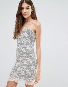 Кружевное платье мини без бретелек Wal G - Черный