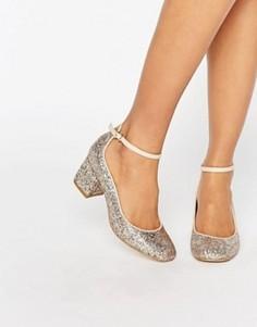 Туфли на каблуке средней высоты с блестками Carvela - Бежевый