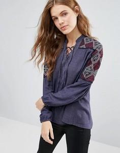 Блузка с вышивкой на рукавах Hazel - Темно-синий