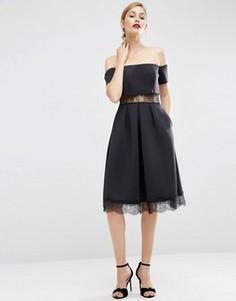 Платье миди с открытыми плечами и кружевными вставками ASOS Premium - Черный