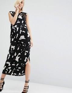 Платье с добавлением шелка и звериным принтом ASOS WHITE - Мульти