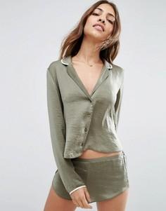 Пижама с топом и шортами ASOS Miley - Зеленый