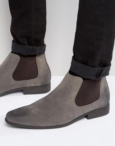 Серые ботинки челси из искусственной замши ASOS - Серый