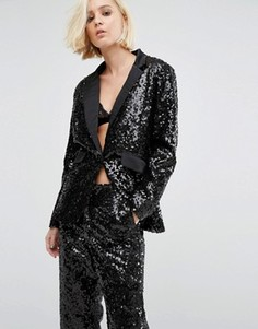 Удлиненный пиджак в стиле смокинга с пайетками Religion Christmas - Черный