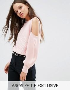 Джемпер с вырезами на плечах ASOS PETITE - Розовый