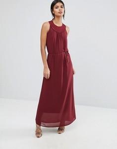 Платье макси с плетеной отделкой на горловине Sisley - Красный