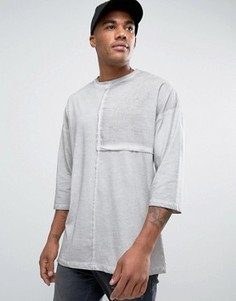 Свободная футболка с рукавами 3/4 и тканой вставкой ASOS - Серый