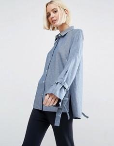Синяя выбеленная джинсовая рубашка с oversize-рукавами ASOS - Синий