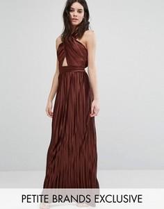 Плиссированное платье макси с перекрестом спереди и открытой спиной True Decadence Petite - Оранжевый