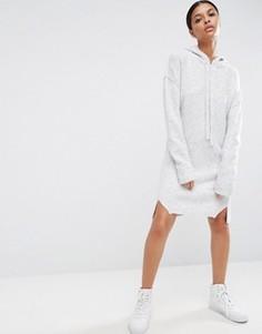 Трикотажное платье-джемпер с капюшоном ASOS - Серый