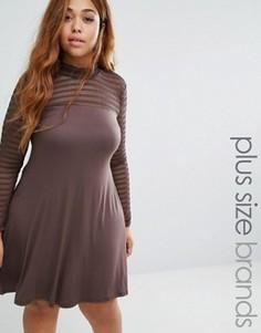Свободное платье с сетчатой отделкой Pink Clove Plus - Коричневый
