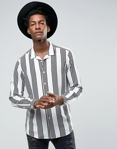 Вискозная рубашка классического кроя с воротником в виде лацканов и принтом ASOS - Белый